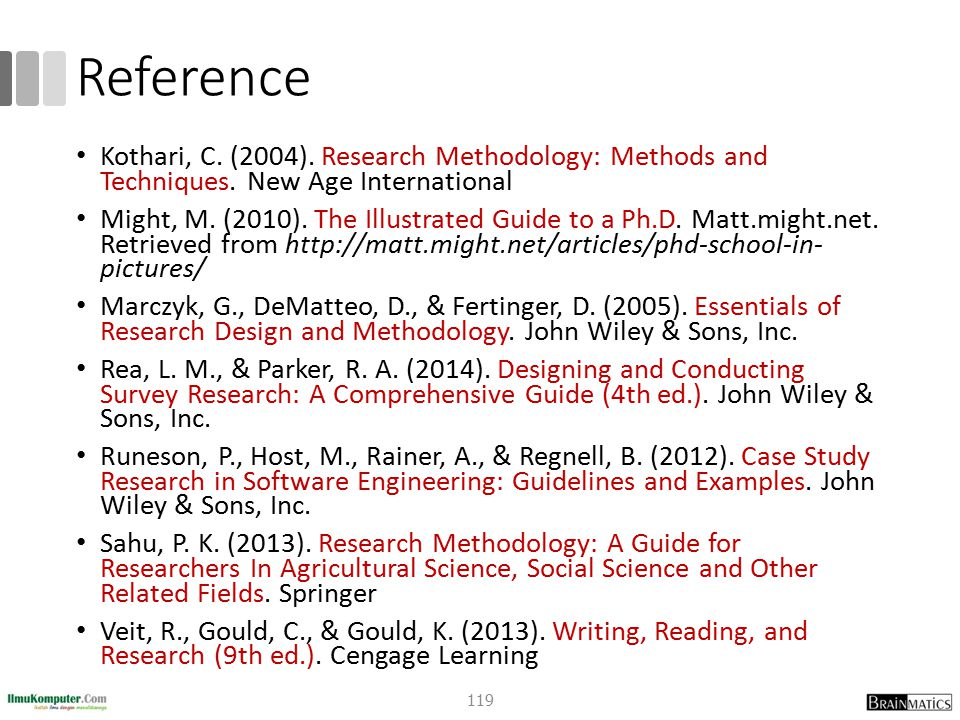 Reference Kothari, C. (2004). Research Methodology: Methods and Techniques. New Age International.