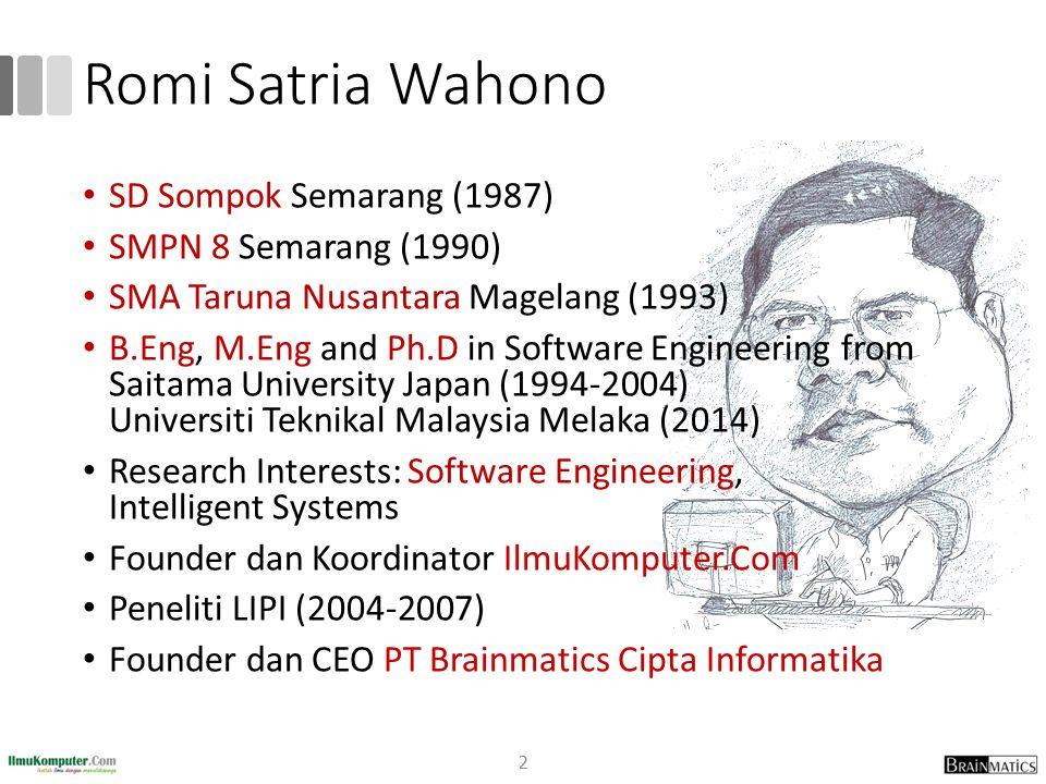 Romi Satria Wahono SD Sompok Semarang (1987) SMPN 8 Semarang (1990)