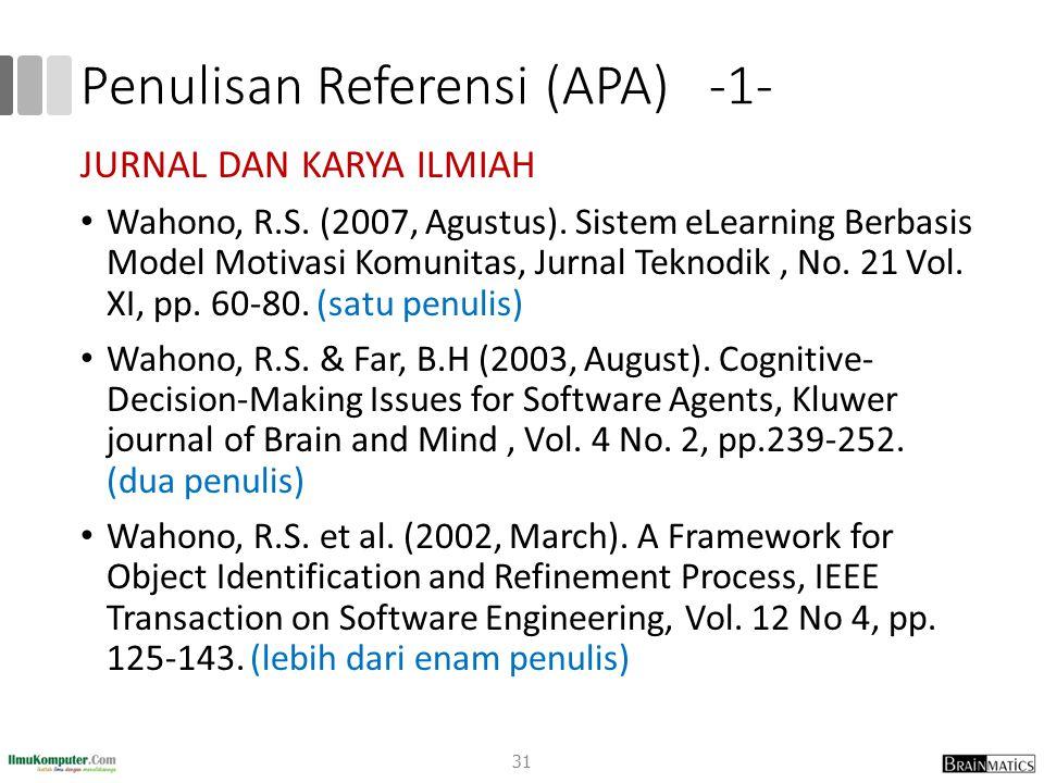 Penulisan Referensi (APA) -1-