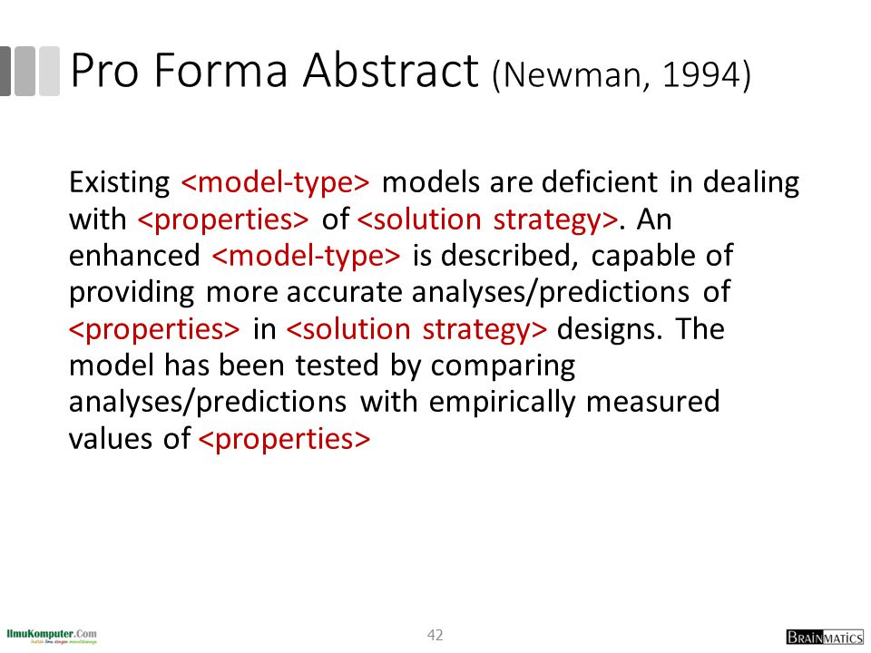 Pro Forma Abstract (Newman, 1994)