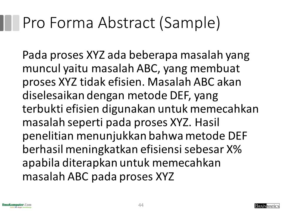 Pro Forma Abstract (Sample)