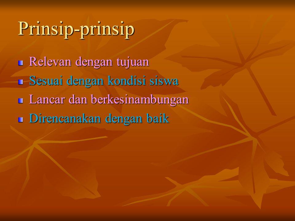 Prinsip-prinsip Relevan dengan tujuan Sesuai dengan kondisi siswa
