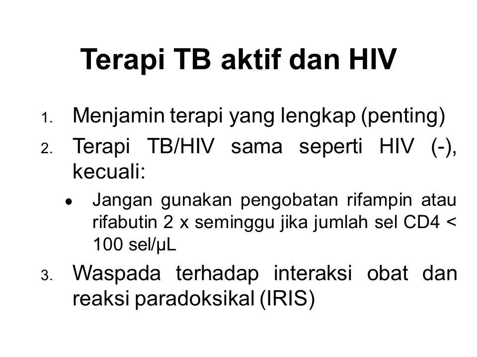Terapi TB aktif dan HIV Menjamin terapi yang lengkap (penting)
