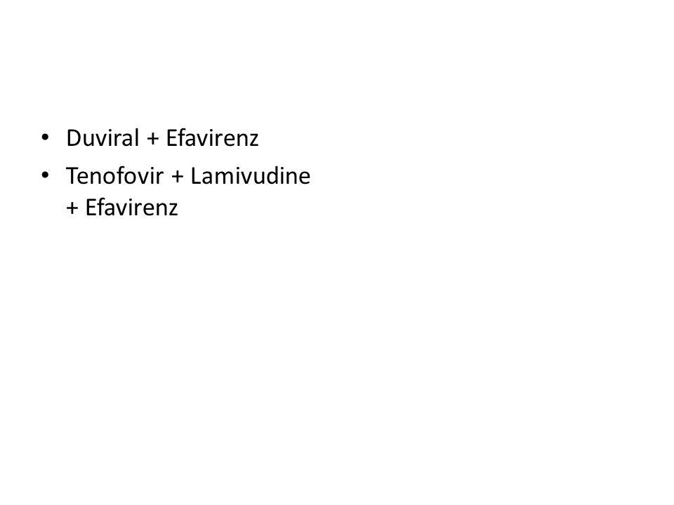 Duviral + Efavirenz Tenofovir + Lamivudine + Efavirenz