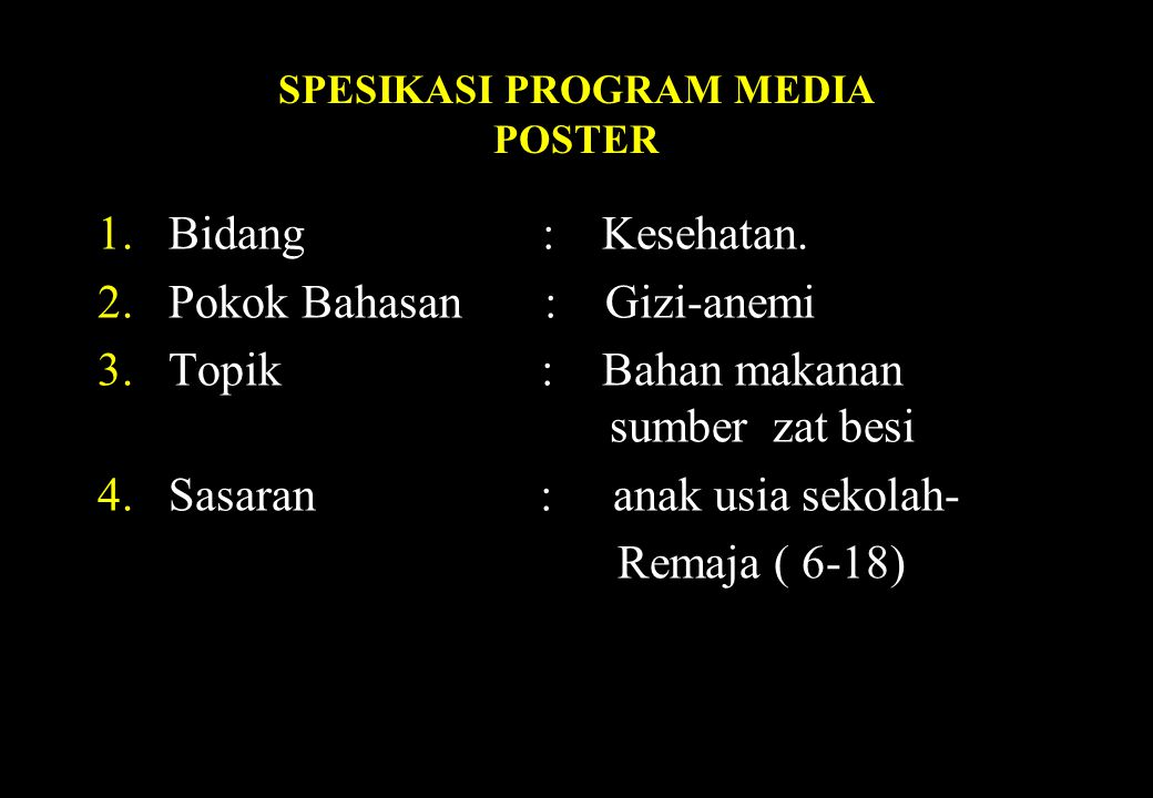 SPESIKASI PROGRAM MEDIA POSTER