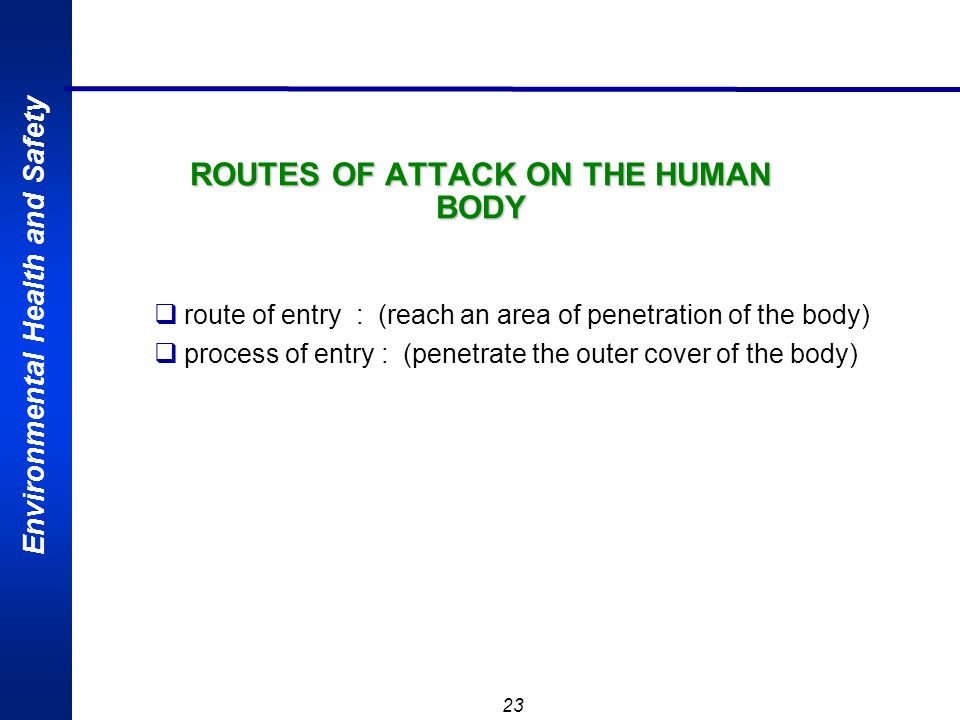 ROUTES OF ATTACK ON THE HUMAN BODY