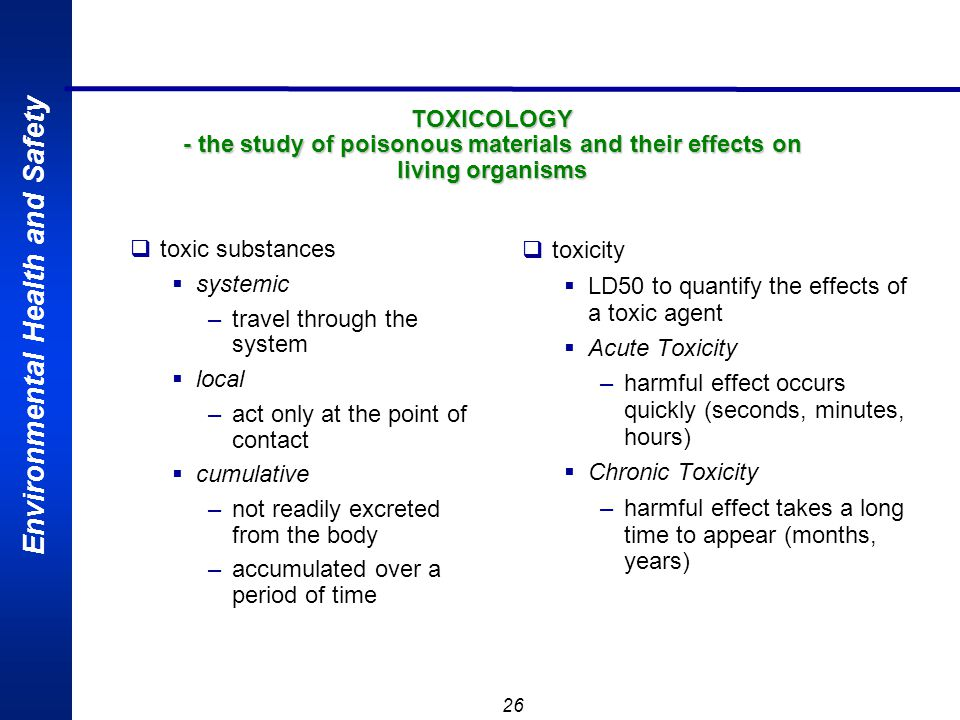 TOXICOLOGY - the study of poisonous materials and their effects on living organisms