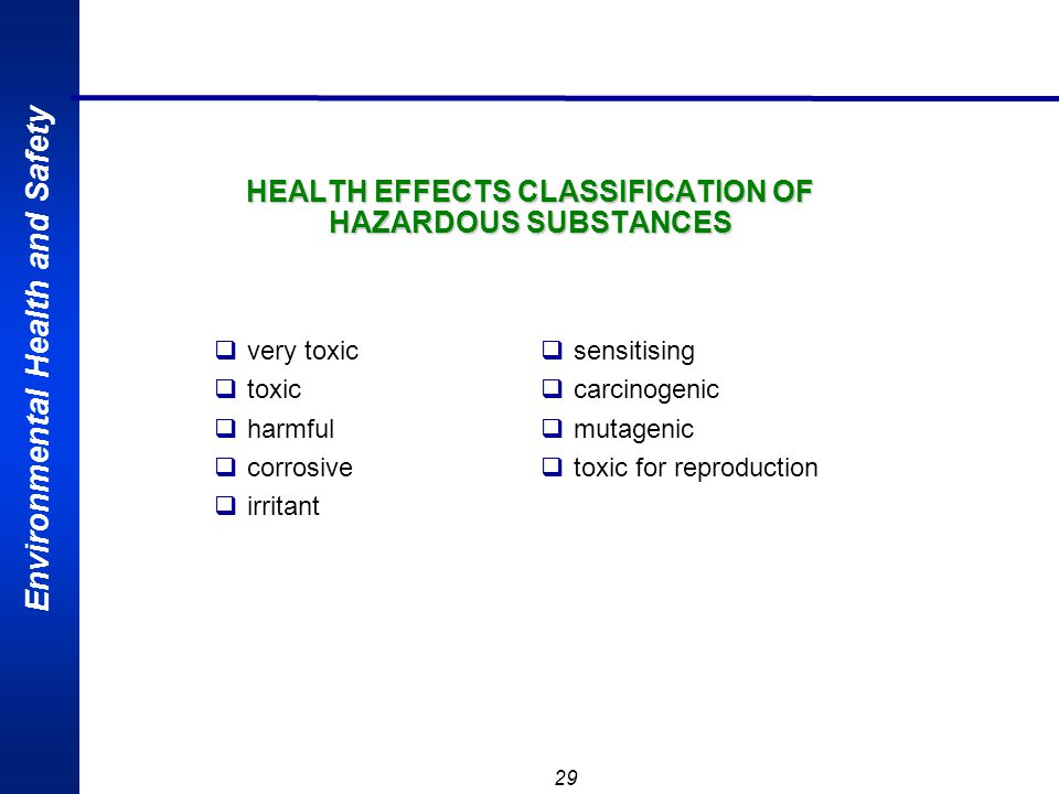HEALTH EFFECTS CLASSIFICATION OF HAZARDOUS SUBSTANCES