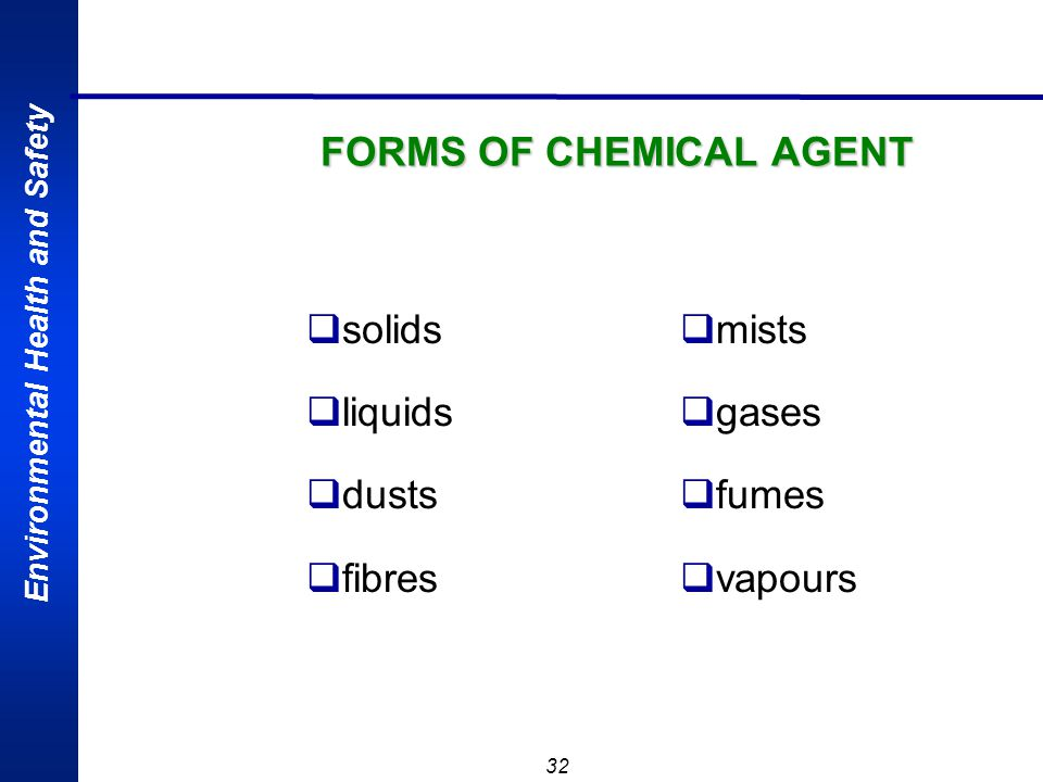 FORMS OF CHEMICAL AGENT