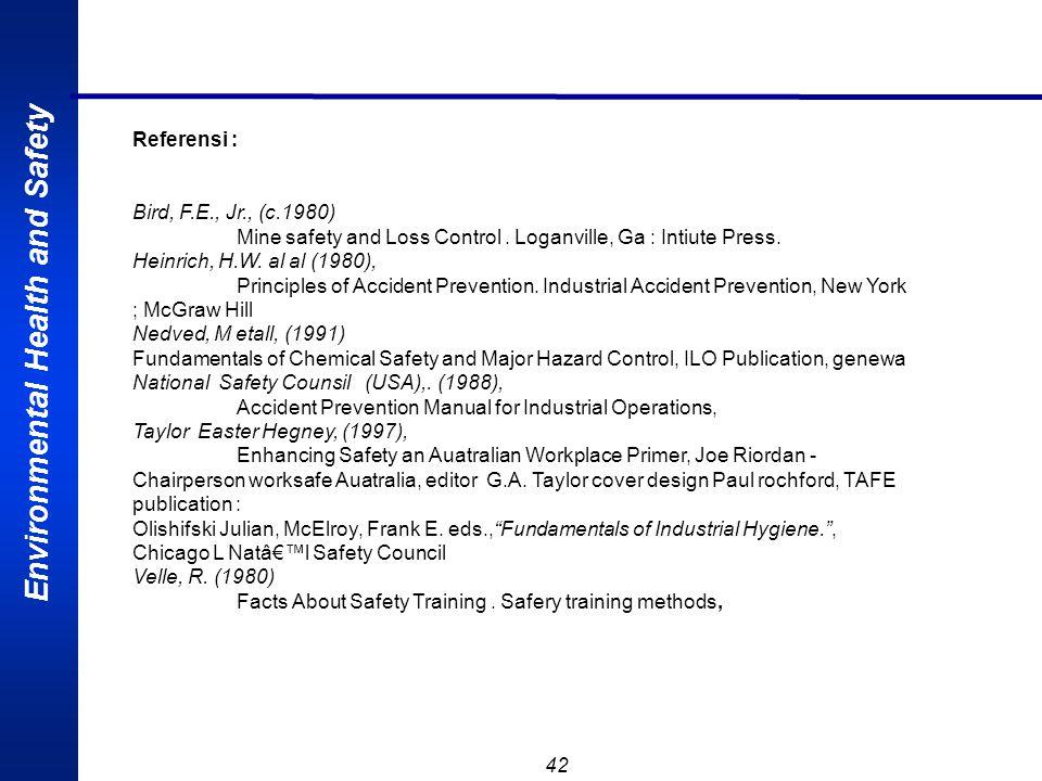 Referensi : Bird, F.E., Jr., (c.1980) Mine safety and Loss Control . Loganville, Ga : Intiute Press.