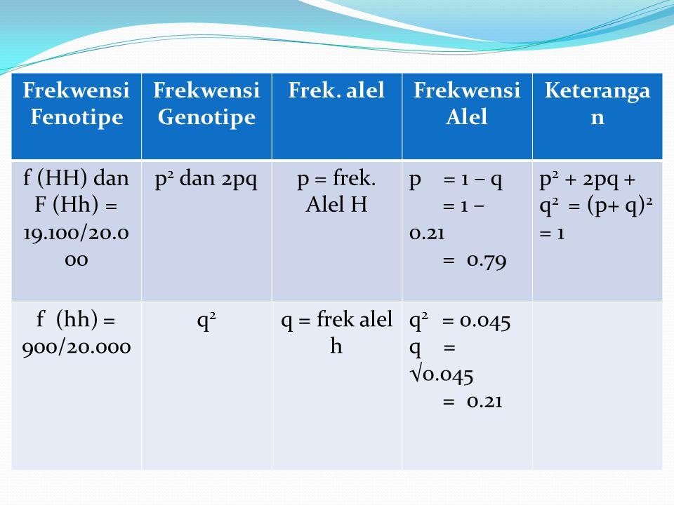 Frekwensi Fenotipe Frekwensi Genotipe. Frek. alel. Frekwensi Alel. Keterangan. f (HH) dan. F (Hh) = 19.100/20.000.