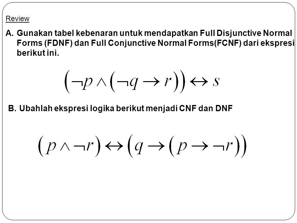 Ubahlah ekspresi logika berikut menjadi CNF dan DNF