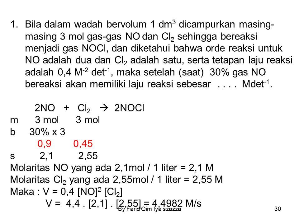 Molaritas NO yang ada 2,1mol / 1 liter = 2,1 M