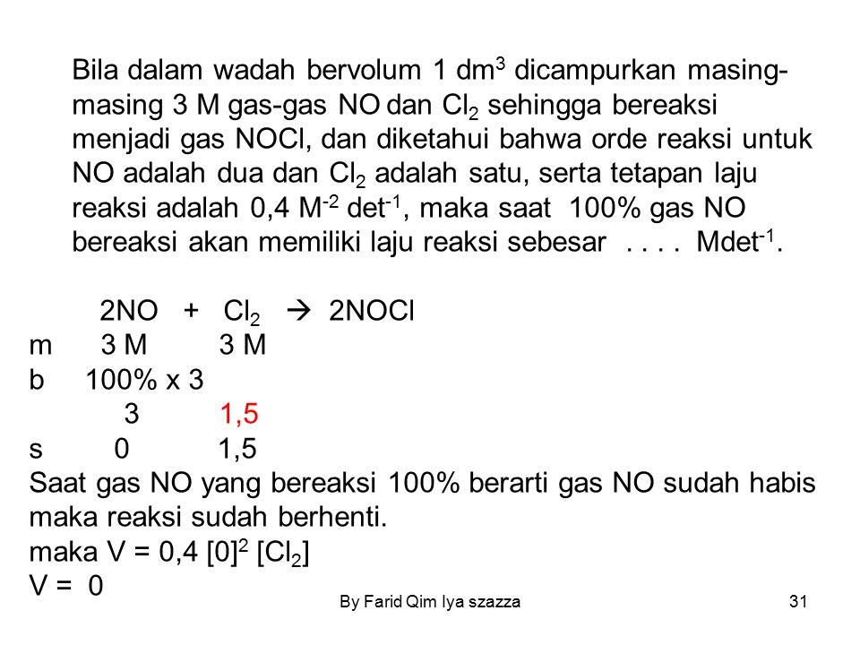 Bila dalam wadah bervolum 1 dm3 dicampurkan masing-masing 3 M gas-gas NO dan Cl2 sehingga bereaksi menjadi gas NOCl, dan diketahui bahwa orde reaksi untuk NO adalah dua dan Cl2 adalah satu, serta tetapan laju reaksi adalah 0,4 M-2 det-1, maka saat 100% gas NO bereaksi akan memiliki laju reaksi sebesar . . . . Mdet-1.