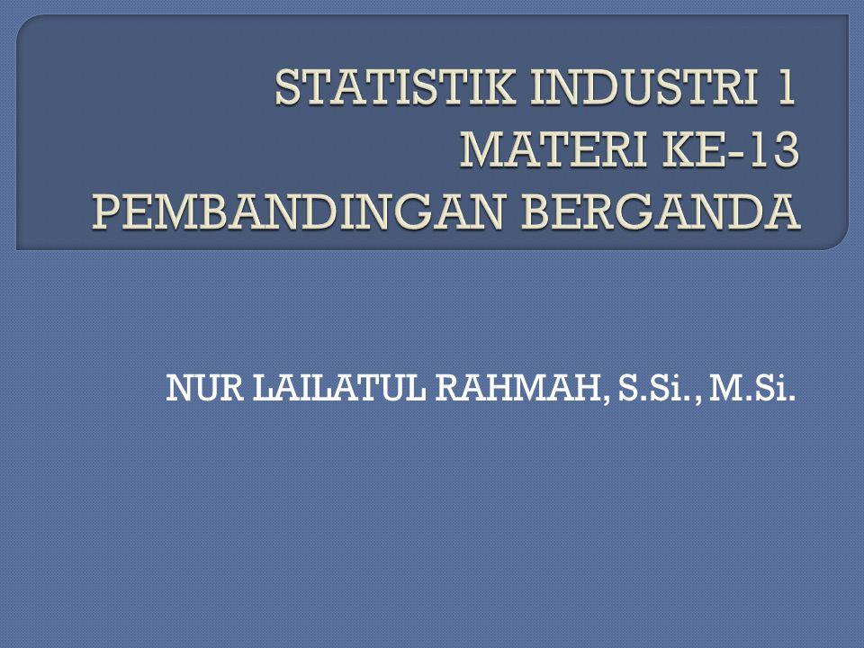 STATISTIK INDUSTRI 1 MATERI KE-13 PEMBANDINGAN BERGANDA