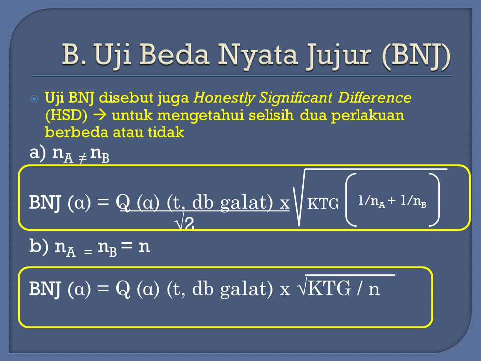 B. Uji Beda Nyata Jujur (BNJ)