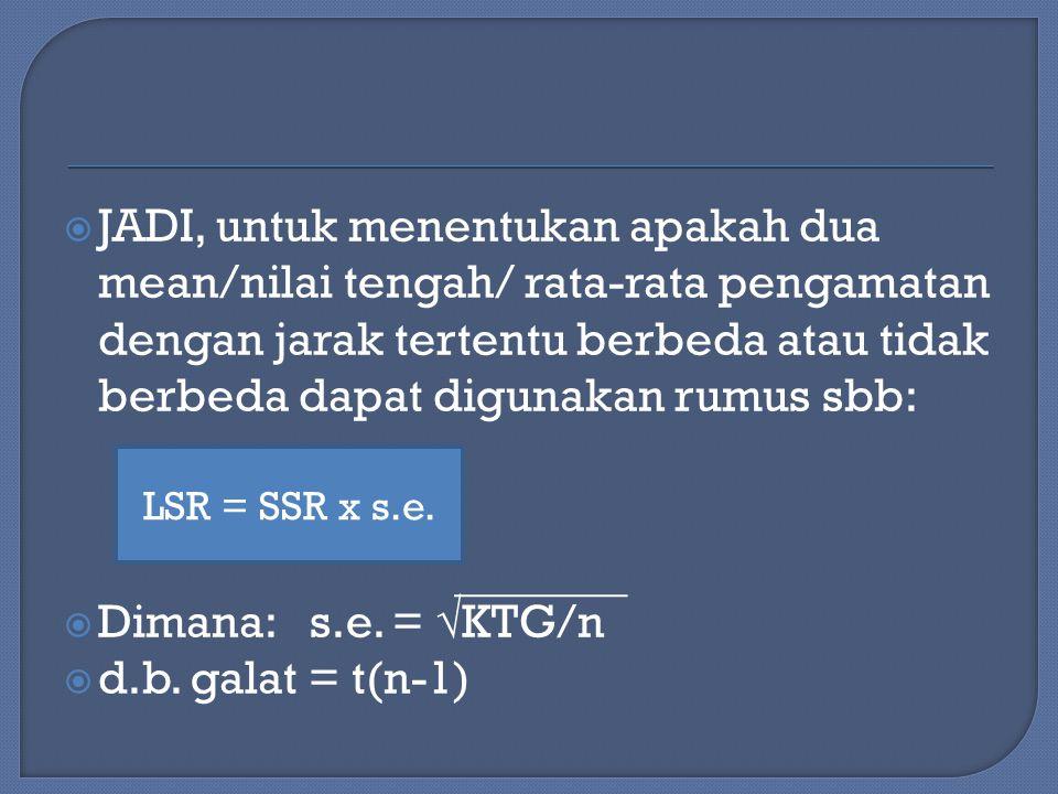 JADI, untuk menentukan apakah dua mean/nilai tengah/ rata-rata pengamatan dengan jarak tertentu berbeda atau tidak berbeda dapat digunakan rumus sbb:
