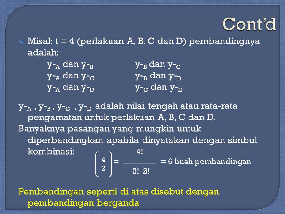Cont'd Misal: t = 4 (perlakuan A, B, C dan D) pembandingnya adalah:
