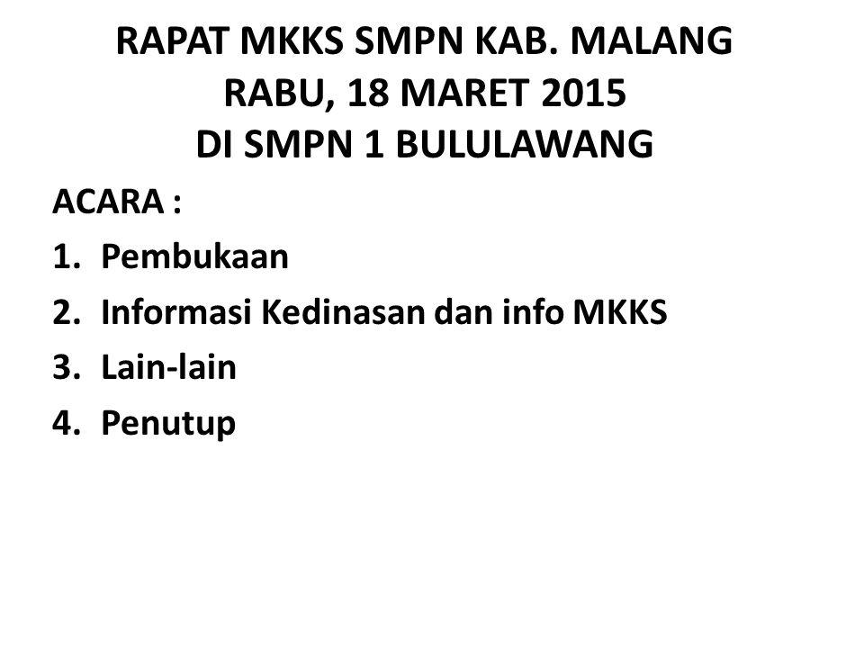 RAPAT MKKS SMPN KAB. MALANG RABU, 18 MARET 2015 DI SMPN 1 BULULAWANG