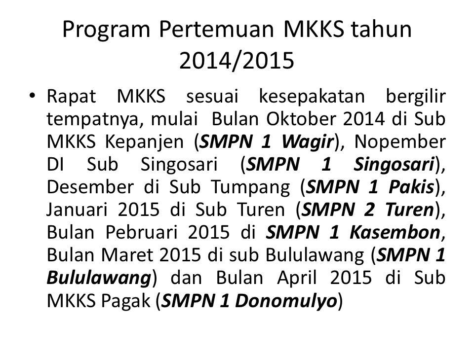 Program Pertemuan MKKS tahun 2014/2015