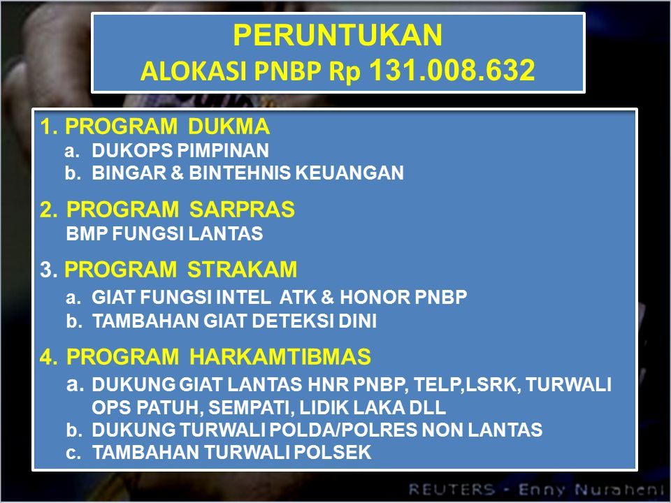 PERUNTUKAN ALOKASI PNBP Rp 131.008.632 PROGRAM DUKMA PROGRAM SARPRAS