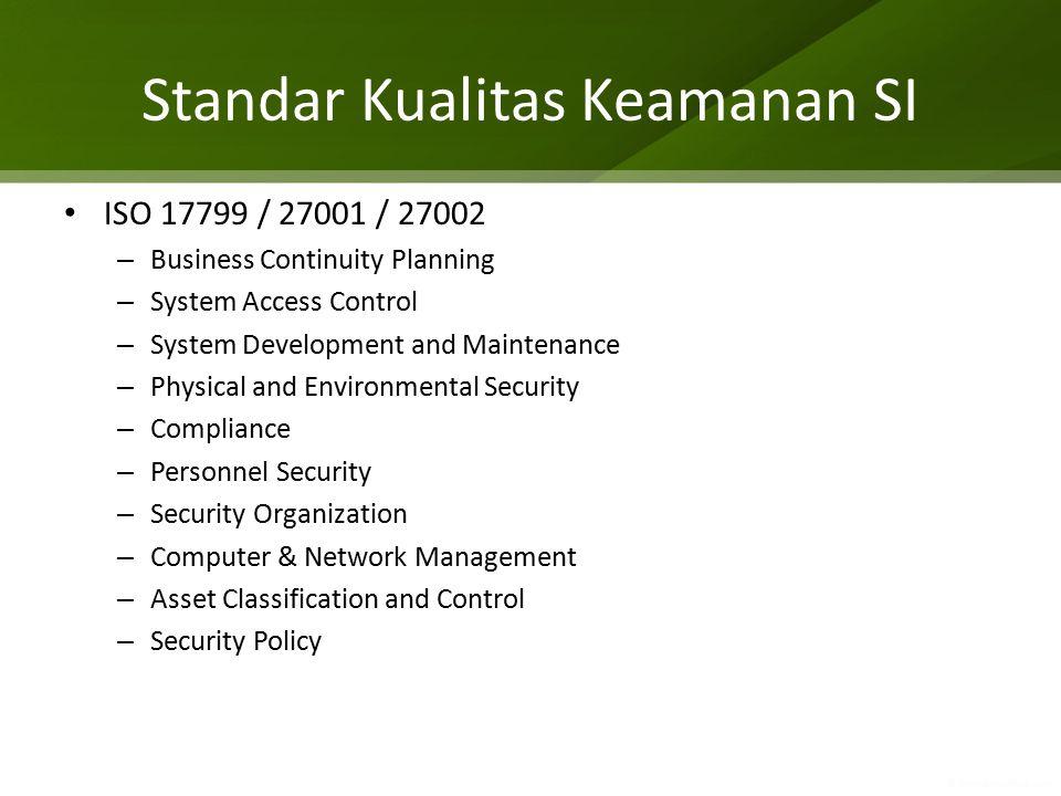 Standar Kualitas Keamanan SI