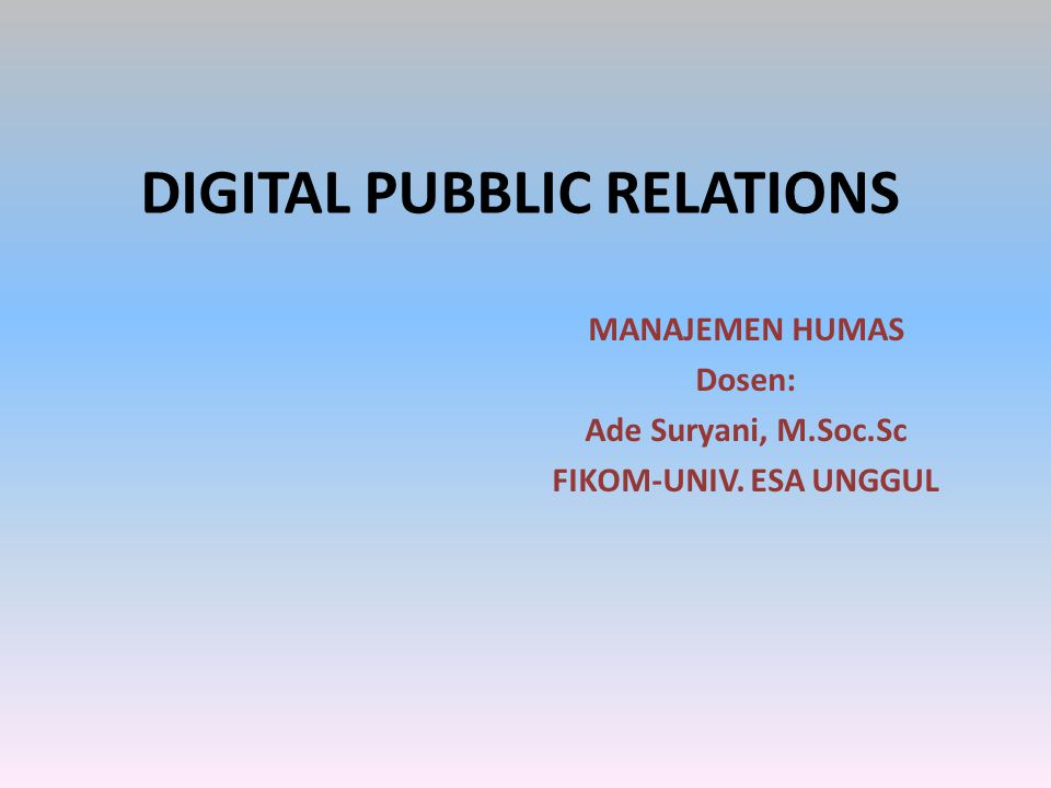 DIGITAL PUBBLIC RELATIONS