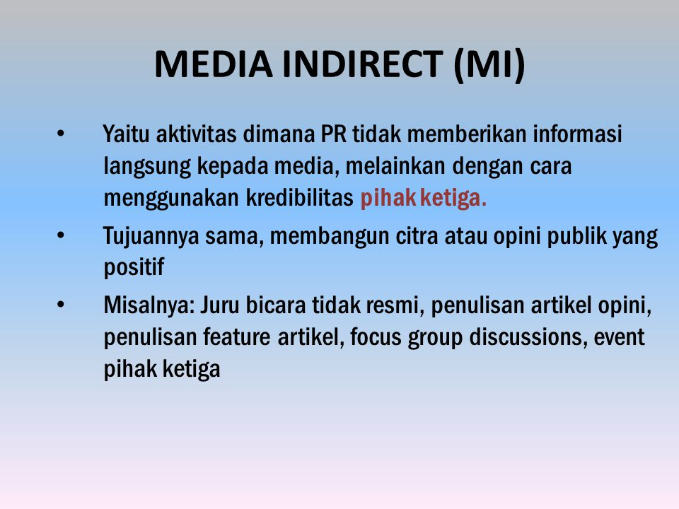 MEDIA INDIRECT (MI)
