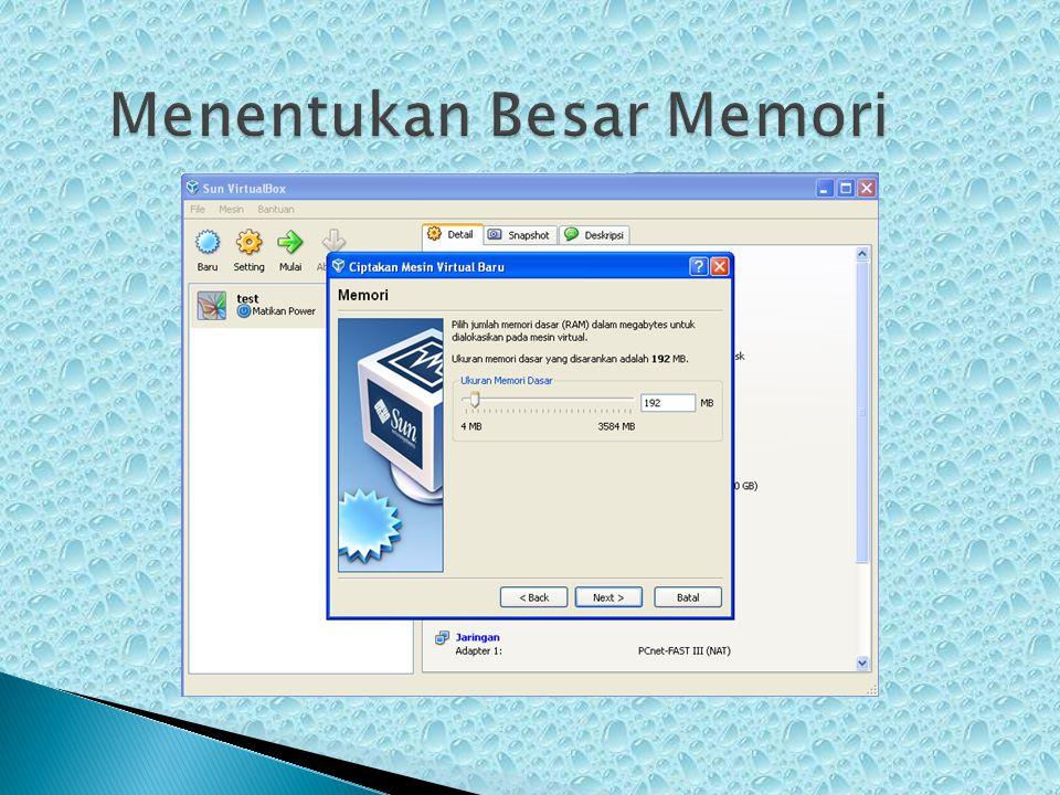 Menentukan Besar Memori