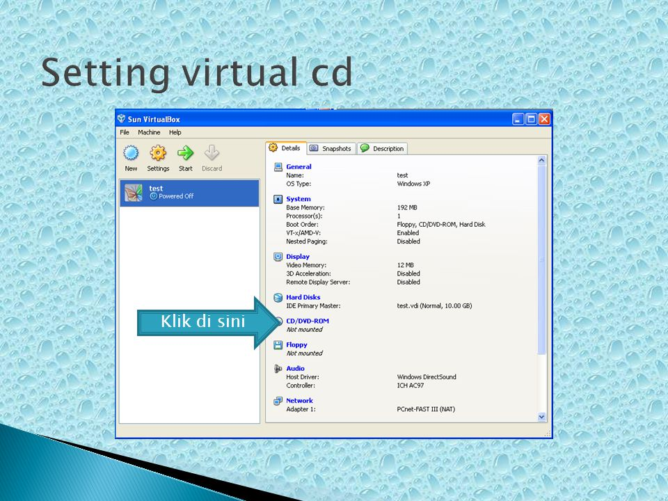 Setting virtual cd Klik di sini