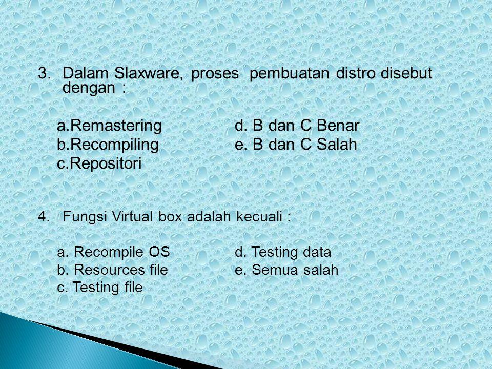 Dalam Slaxware, proses pembuatan distro disebut dengan :