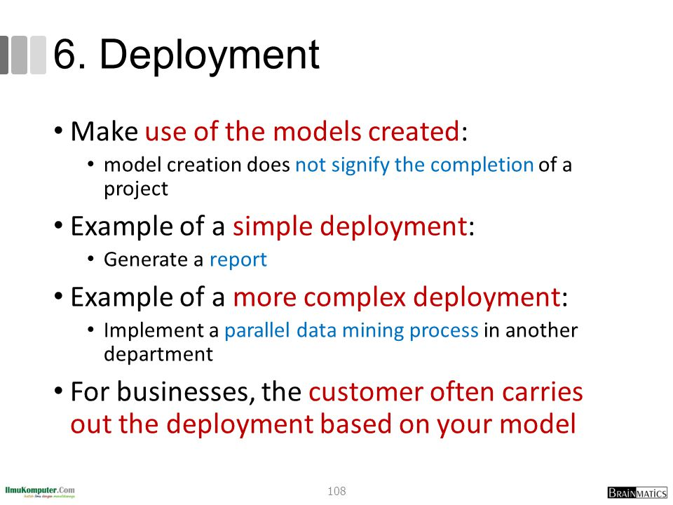 6. Deployment Make use of the models created: