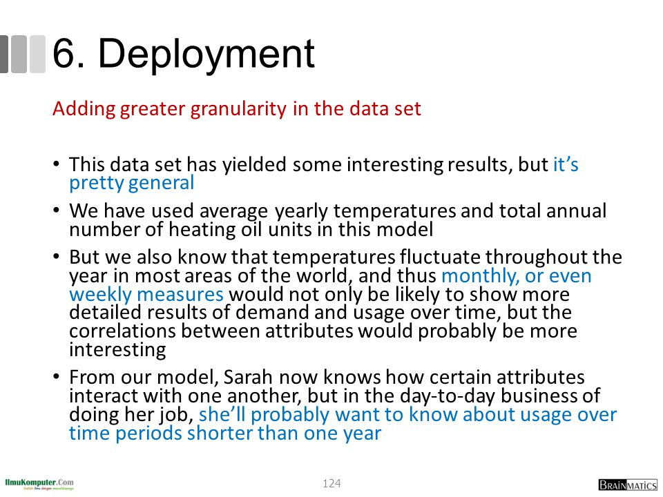 6. Deployment Adding greater granularity in the data set