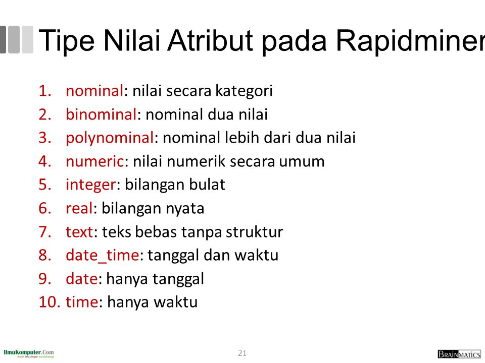 Tipe Nilai Atribut pada Rapidminer