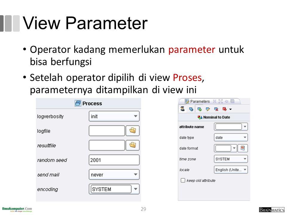 View Parameter Operator kadang memerlukan parameter untuk bisa berfungsi.