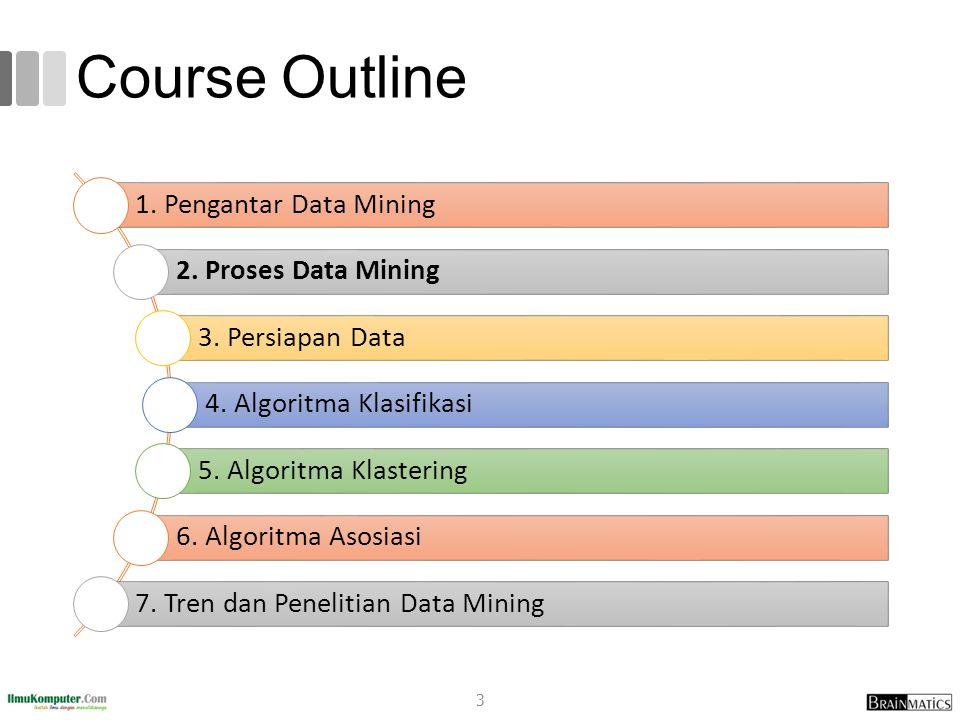 Course Outline 1. Pengantar Data Mining 2. Proses Data Mining