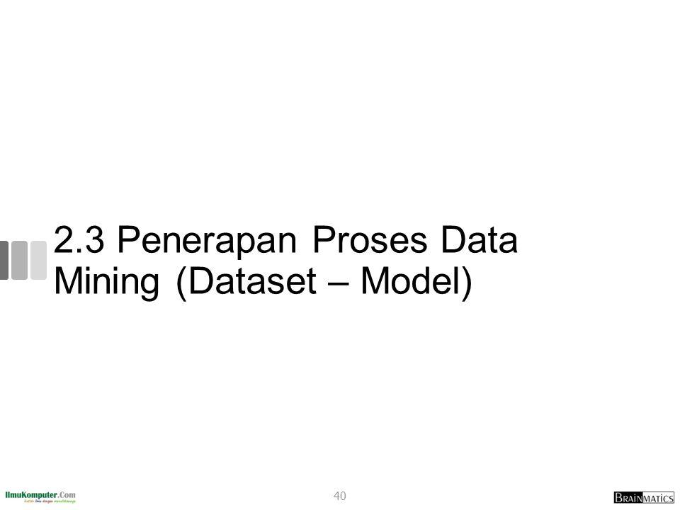 2.3 Penerapan Proses Data Mining (Dataset – Model)