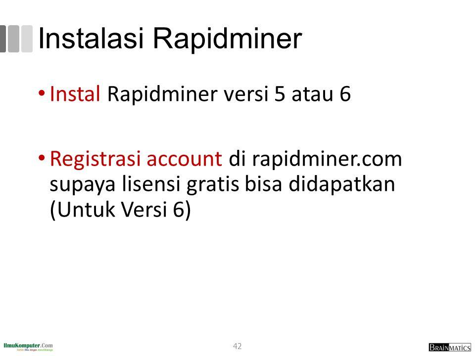 Instalasi Rapidminer Instal Rapidminer versi 5 atau 6