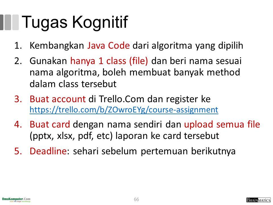 Tugas Kognitif Kembangkan Java Code dari algoritma yang dipilih