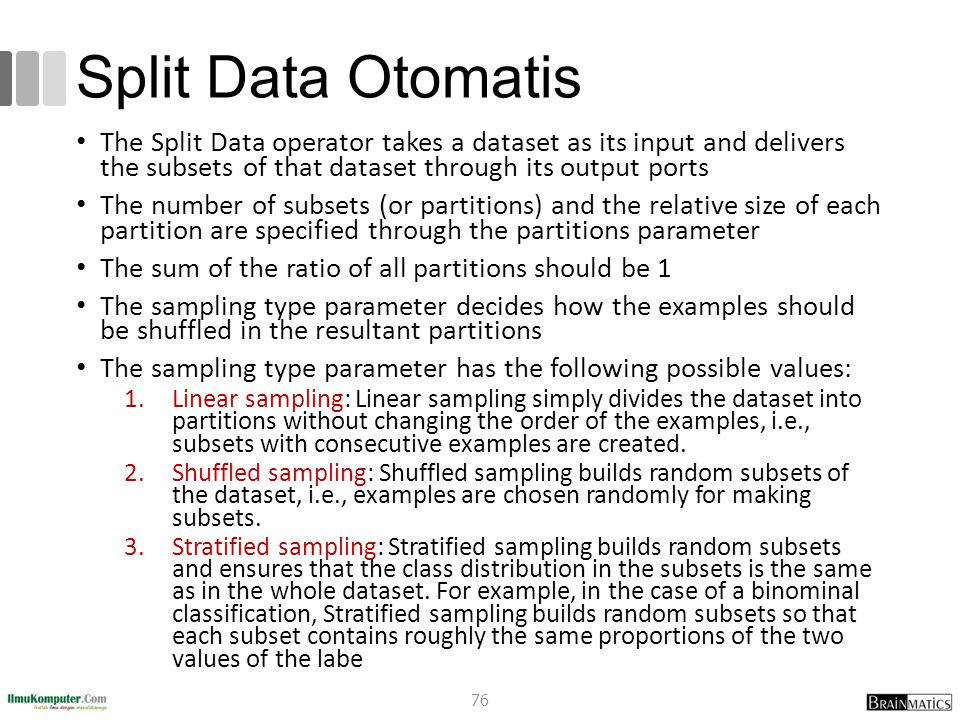 Split Data Otomatis The Split Data operator takes a dataset as its input and delivers the subsets of that dataset through its output ports.