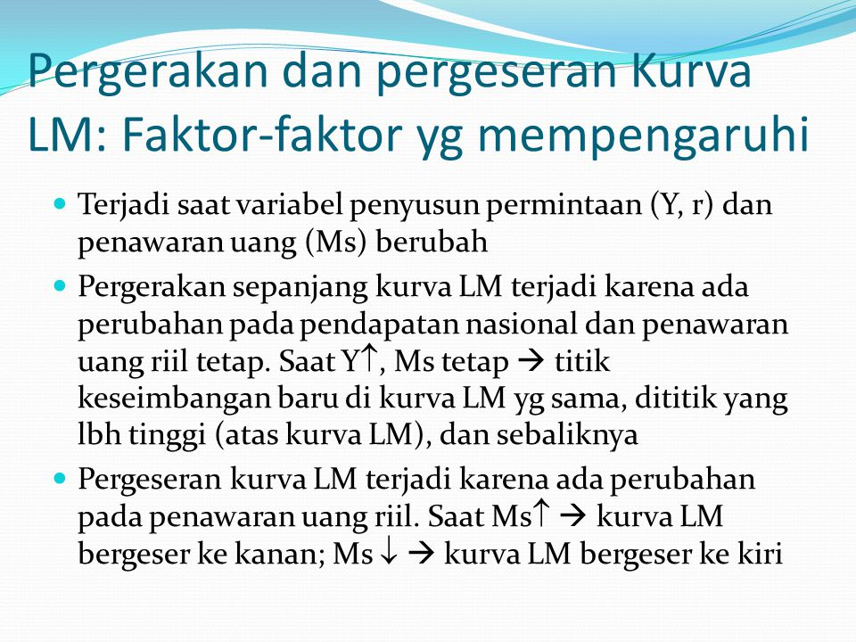 Pergerakan dan pergeseran Kurva LM: Faktor-faktor yg mempengaruhi