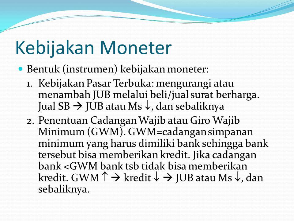 Kebijakan Moneter Bentuk (instrumen) kebijakan moneter: