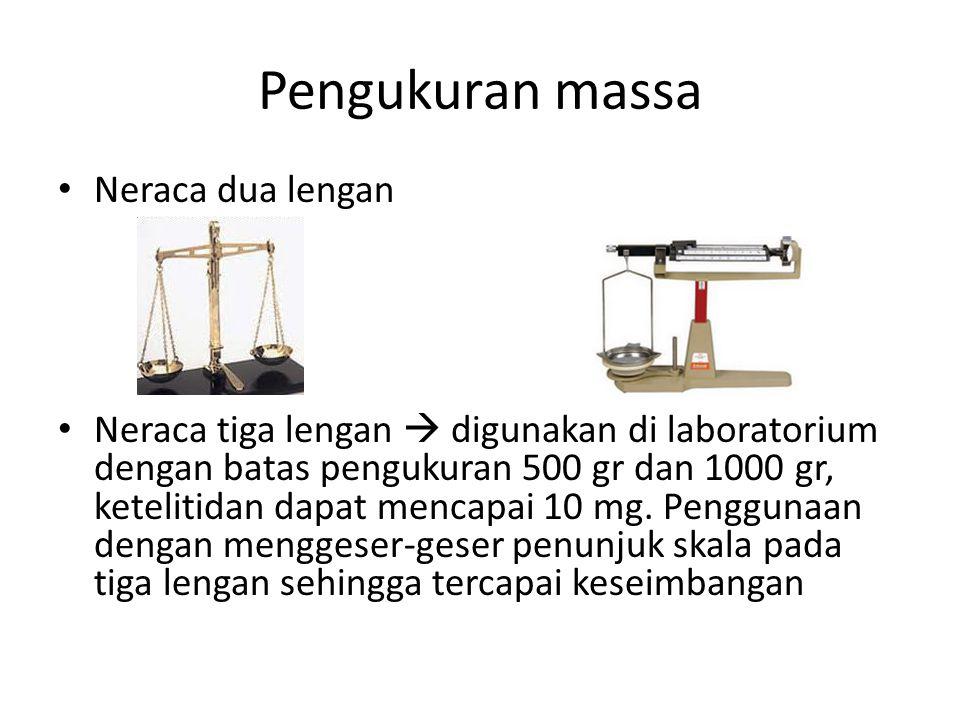 Pengukuran massa Neraca dua lengan