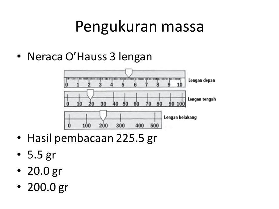 Pengukuran massa Neraca O'Hauss 3 lengan Hasil pembacaan 225.5 gr