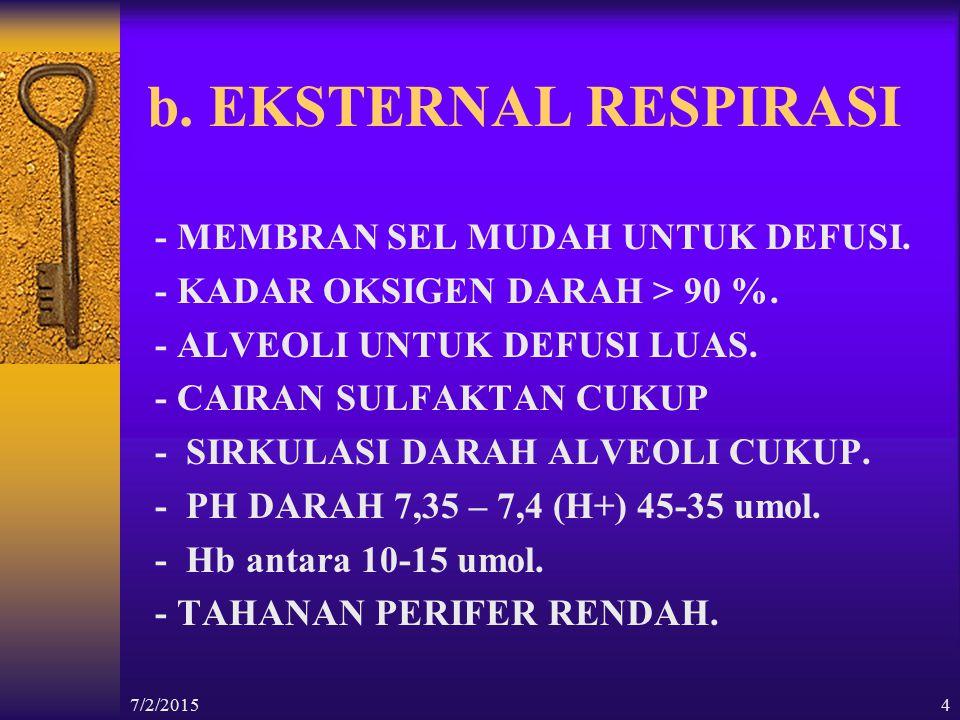 b. EKSTERNAL RESPIRASI - MEMBRAN SEL MUDAH UNTUK DEFUSI.