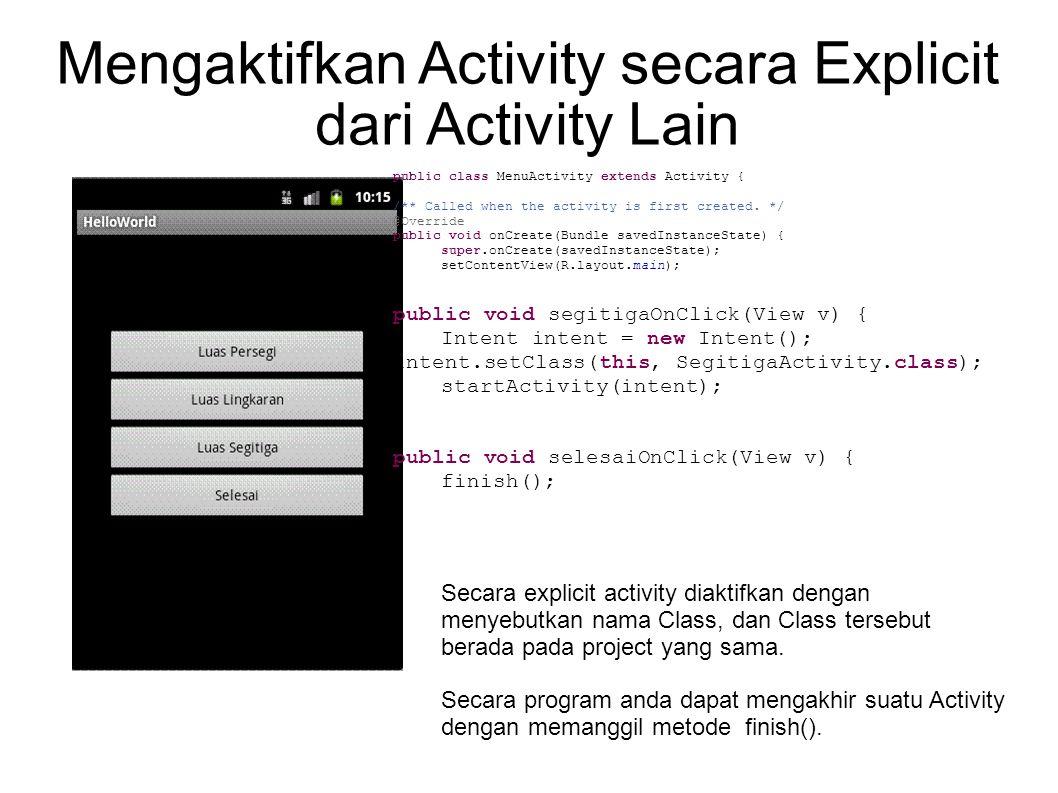 Mengaktifkan Activity secara Explicit dari Activity Lain