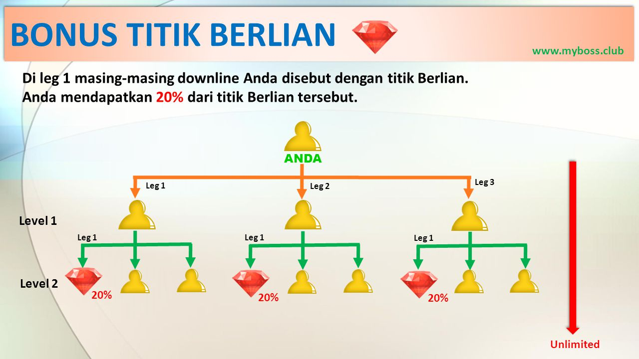 BONUS TITIK BERLIAN www.myboss.club. Di leg 1 masing-masing downline Anda disebut dengan titik Berlian.