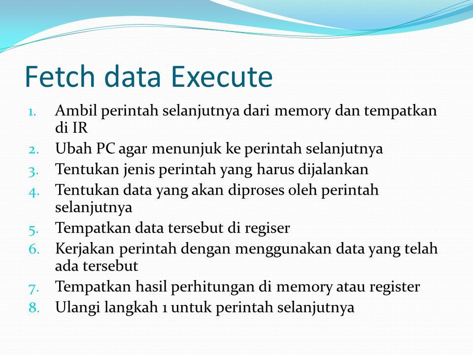 Fetch data Execute Ambil perintah selanjutnya dari memory dan tempatkan di IR. Ubah PC agar menunjuk ke perintah selanjutnya.