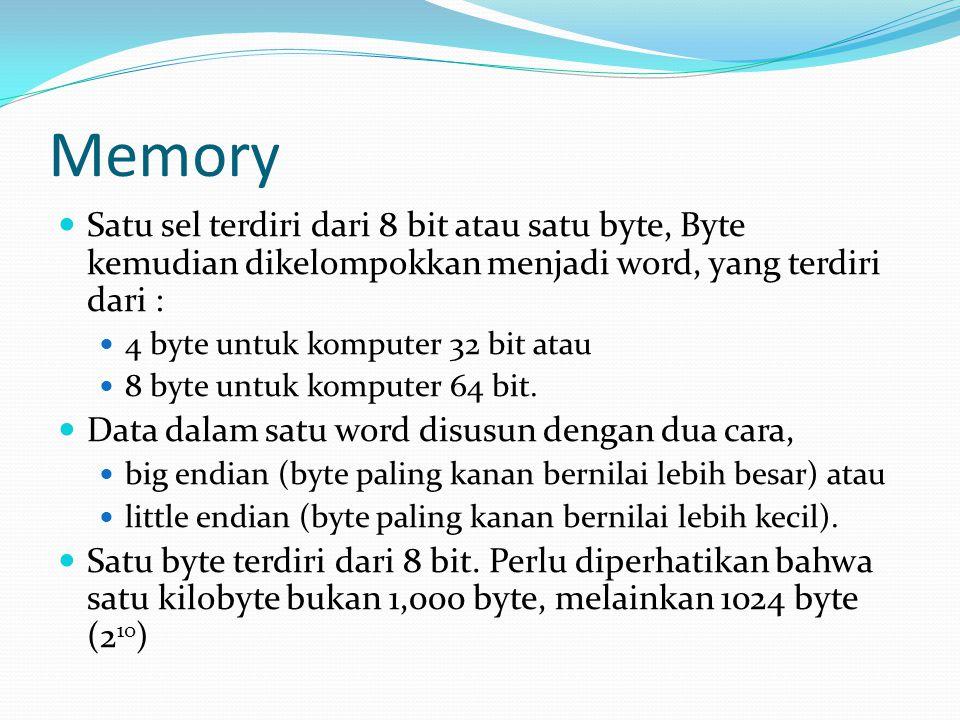 Memory Satu sel terdiri dari 8 bit atau satu byte, Byte kemudian dikelompokkan menjadi word, yang terdiri dari :