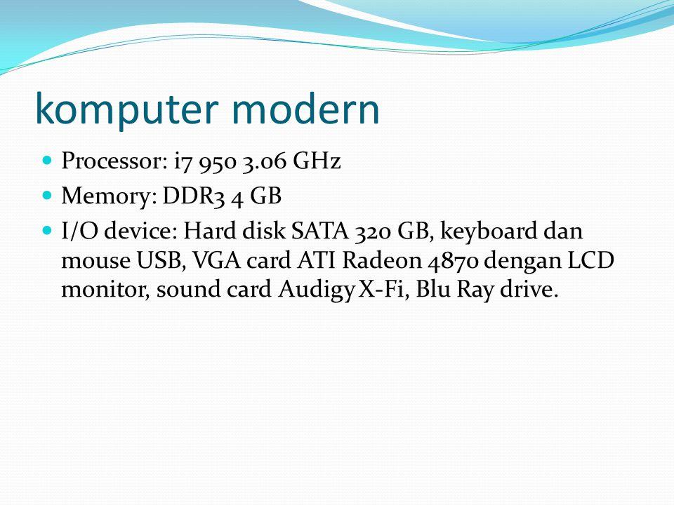komputer modern Processor: i7 950 3.06 GHz Memory: DDR3 4 GB